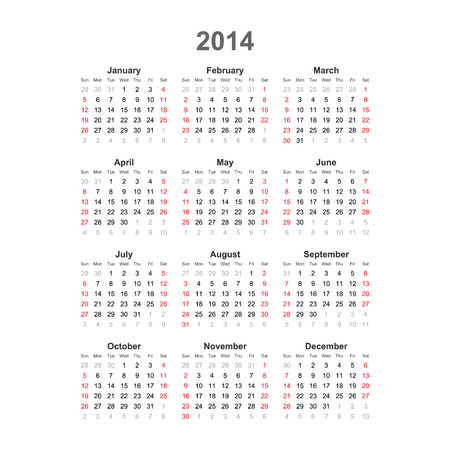 Simple calendar, 2014  Vector Illustration