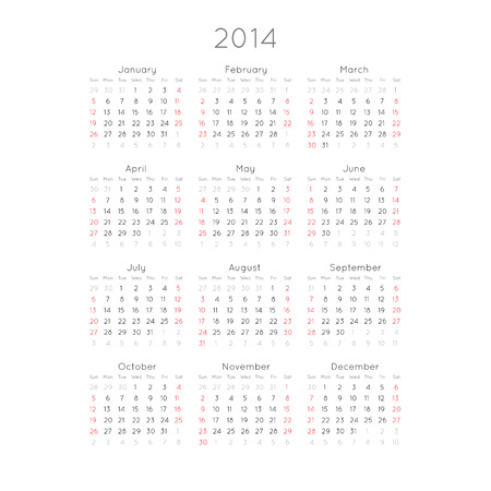 Calendar With Trendy Thin Font, 2014  Vector Illustration