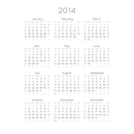 Kalender Mit Trendy Thin Font 2014 Vector