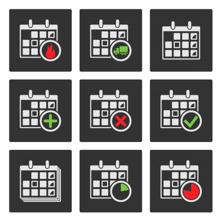 Calendar Icons  Events, Progress, Delivery  Vector Vector