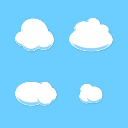 Comic Cloud Set  Cartoon Style  Vector  イラスト・ベクター素材