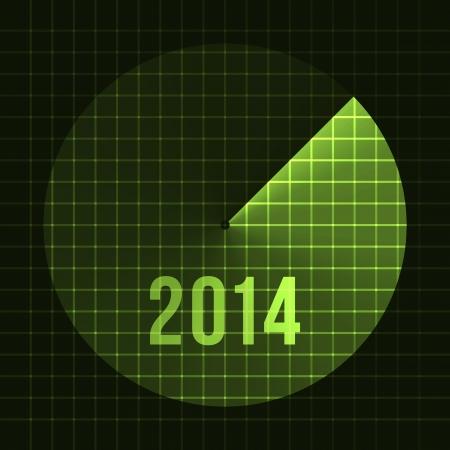 sonar: Nouvel An Sonar de fond 2014 mod�le de carte pour le texte Vector Illustration Illustration