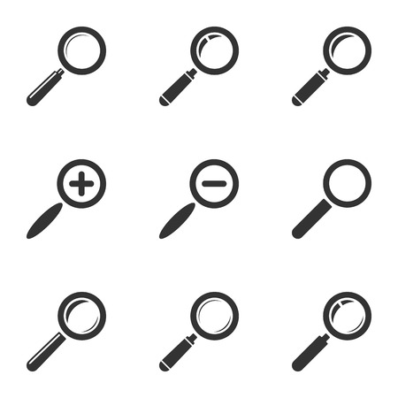 looking glass: Magnifying Glass Icon Set  Zoom, Search, Find  Vector Illustration