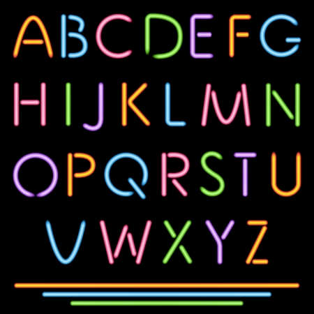 bright alphabet: Realistic Neon Tube Letters  Alphabet, ABC, Font  Multicolor  Vector  No Mesh Used  Illustration
