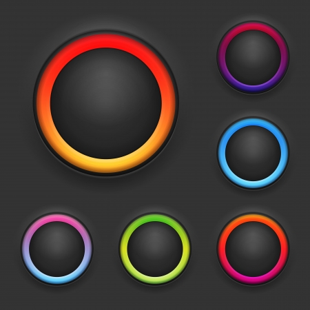 power switch: Glowing Button Template Set  Vector Illustration