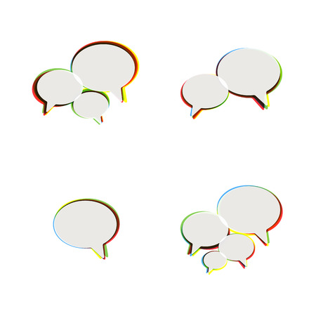 Trendy Flat Icons With Speech Bubbles  Set  Vector Stock Vector - 23195297