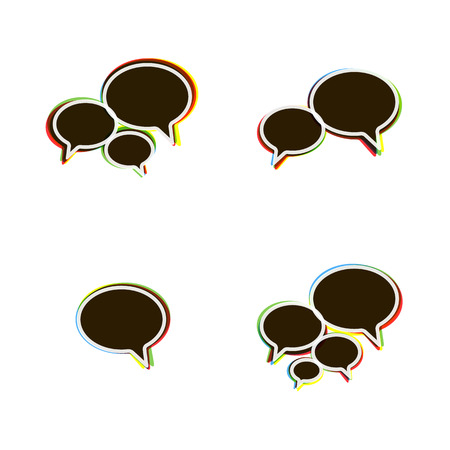 Trendy Flat Icons With Speech Bubbles  Set  Vector Stock Vector - 23195325