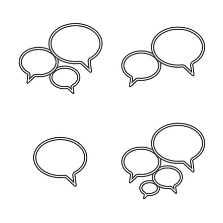 Trendy Thin Icons With Speech Bubbles  Set  Vector Stock Vector - 23195328
