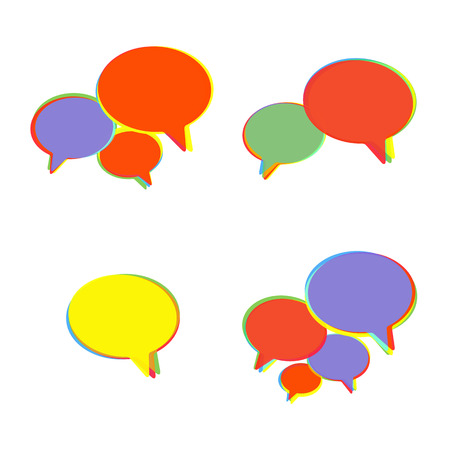Trendy Flat Icons With Speech Bubbles  Set  Vector Vector