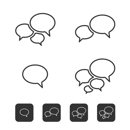 Trendy Thin Icons With Speech Bubbles  Set  Vector Stock Vector - 23195383