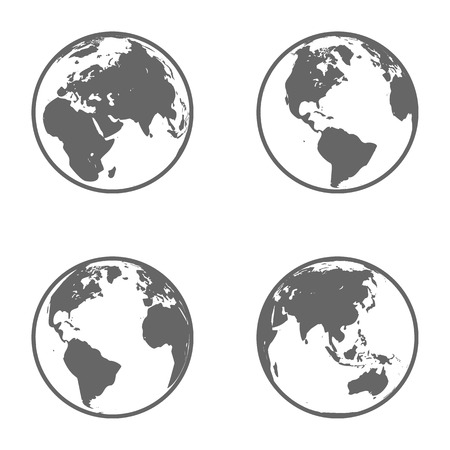 Earth Globe Emblem  Icon Set  Vector Illustration