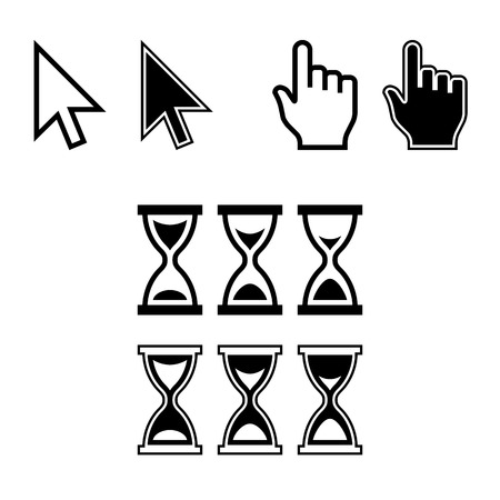 pointers: Cursor Icons. Mouse Pointer Set. Arrow, Hand, Hourglass. Vector