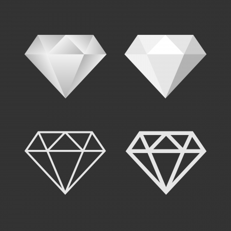 Diamond Icon And Emblem Set. Vector Vector