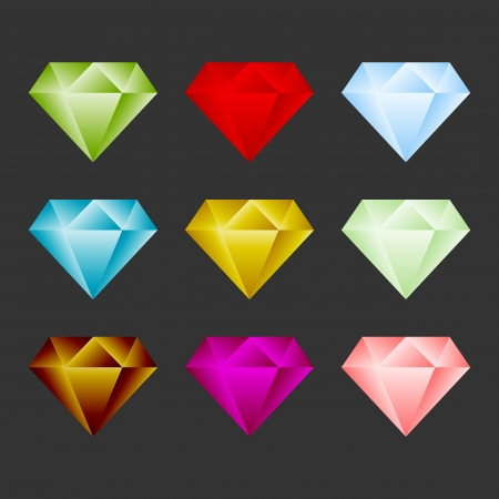 Gem Icon Set. Game Resource Or Emblem. Vector Vector