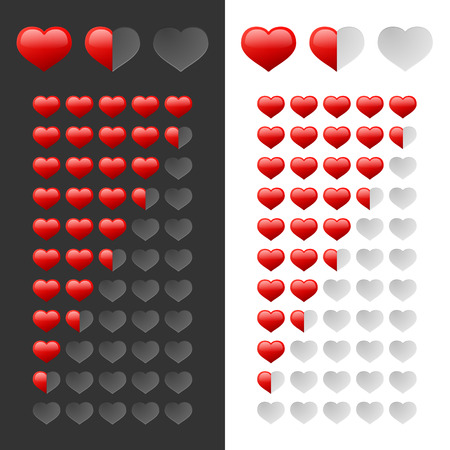 Rating Hearts Set. Vector