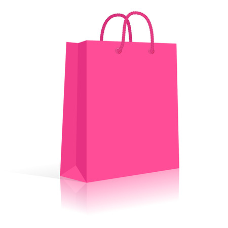 Blank Paper Shopping Bag With Rope Handles. Pink. Vector Vettoriali