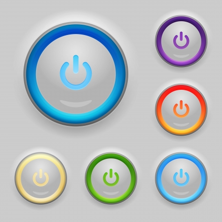 Glowing Power Button. Set. Vector Vector