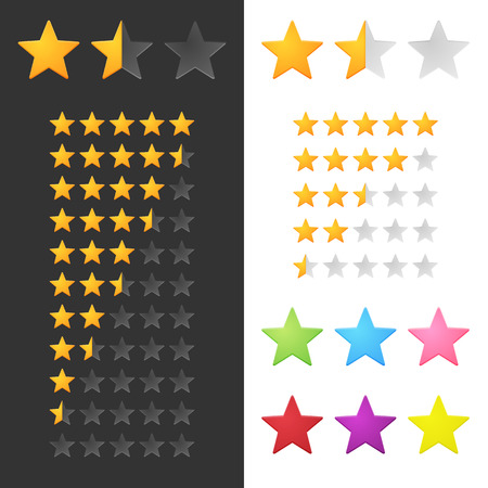the rate: Rating Stars Set. Vector Illustration