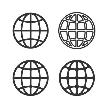 지구 글로브 상징 세트 벡터