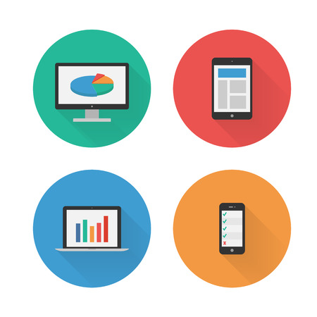 Responsive Design  Flat Icons Set  Vector Vector