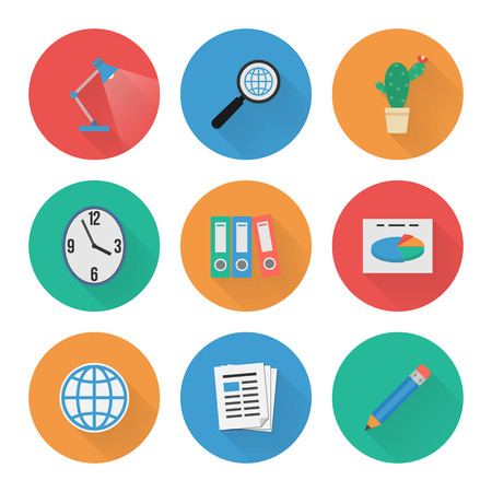Flache Icons Set Business Office Vector Illustration