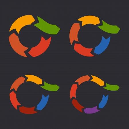lifecycle: Unusual Circle Arrows Set  Vector
