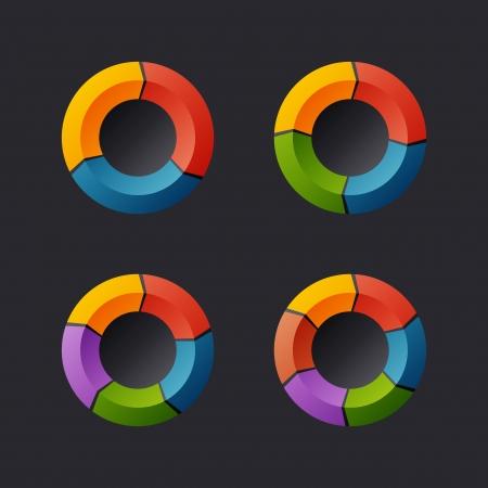 Circular Chart Template Set  Vector Vector