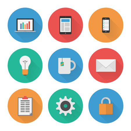 Flat Icons Set  Business  Vector Vector