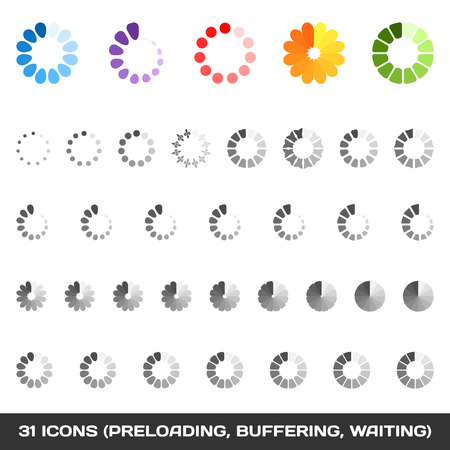 Loading And Buffering Icon Set  Preloaders  Vector Illustration