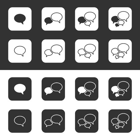 Trendy Thin Icons With Speech Bubbles  Set  Vector Vector