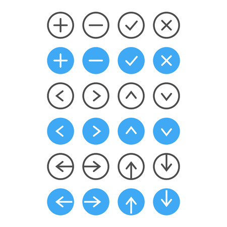 tick icon: Thin Icon Set  Navigation And List Management  Vector Illustration