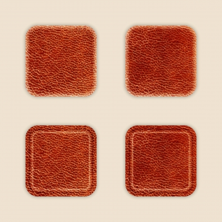 Natural Leather App Icon Template Set. Vector Vector