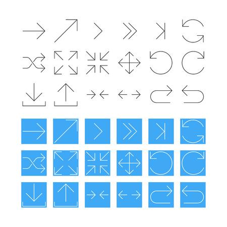 conjunto: Thin Flecha Icon Set. Vector