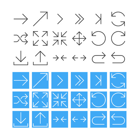 Thin Arrow Icon Set. Vector Vector
