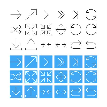 Thin Arrow Icon Set. Vector Vector