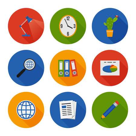 Flat Icons Set. Business Office. Vector Vector
