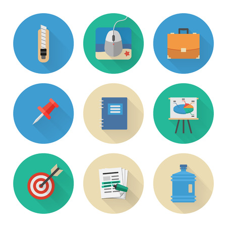 corall: Flat Icons Set. Business Office. Vector Illustration Illustration