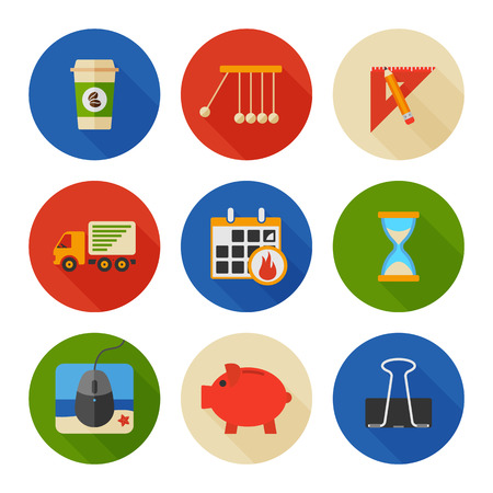 mouse pad: Flat Icons Set. Business Office. Vector
