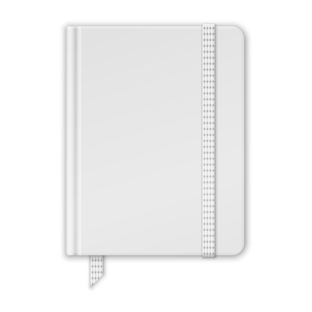 moleskine: Blank White Notebook. Copybook Template With Band And Bookmark. Vector