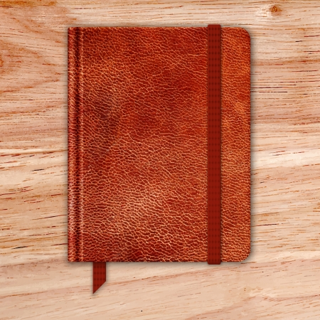 brown leather: Natural Leather Notebook On A Wooden Desk. Copybook With Band And Bookmark. Vector