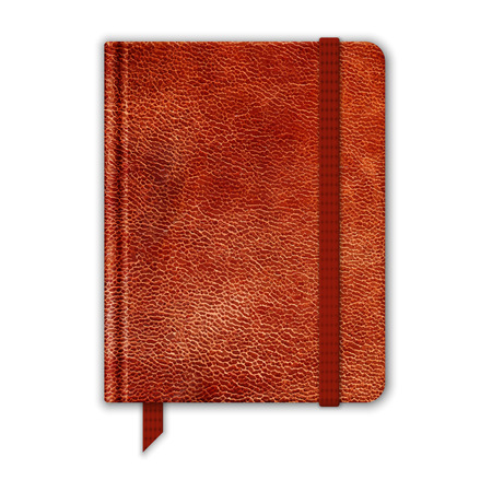 moleskine: Natural Leather Notebook. Copybook With Band And Bookmark. Vector