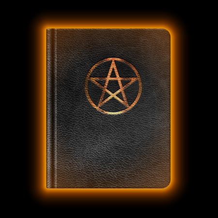 pentagram: Glowing Leather Book With Pentagram. Vector
