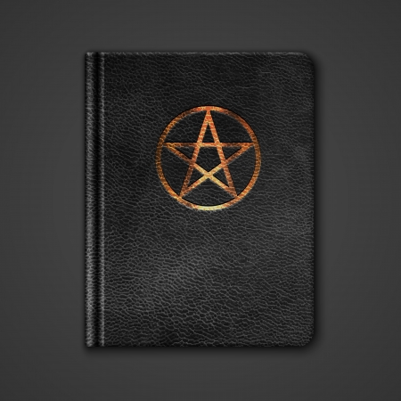 Leather Book With Pentagram. Vector Illustration