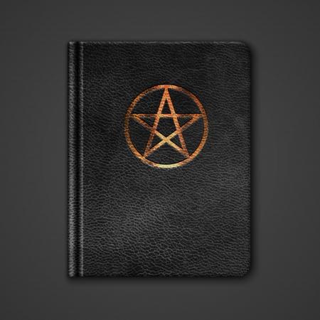 glowing skin: Piel Libro Con Pentagram. Vector