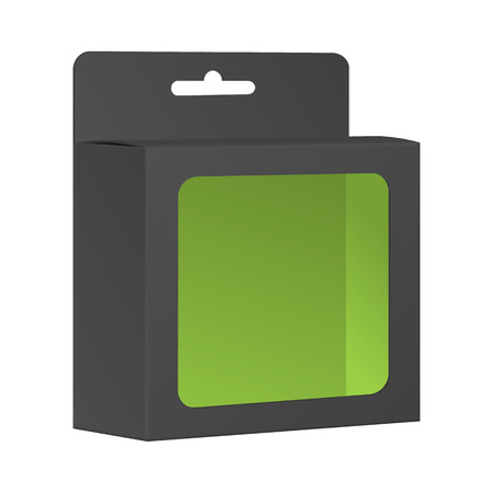 Blank Black Product Package Box With Window. Vector Vector