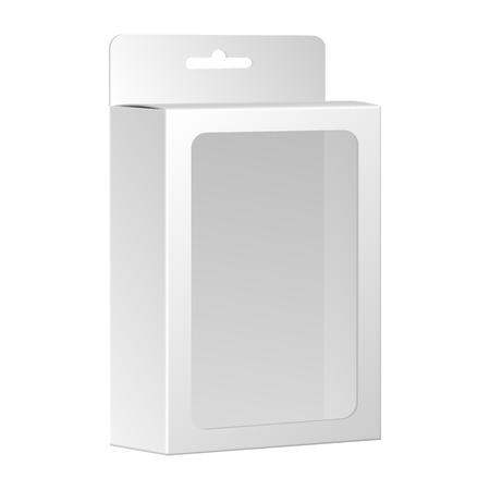 cardboard packaging: Blank White Product Package Box With Window. Vector