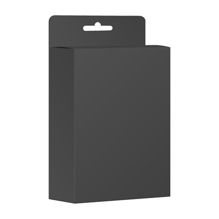 Blank Black Product Package Box. Vector Vector