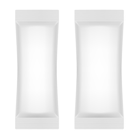 Blank White Foil Sachet For Sugar, Coffee, Salt, Pepper Or Sweets. Vector. Product Package Template