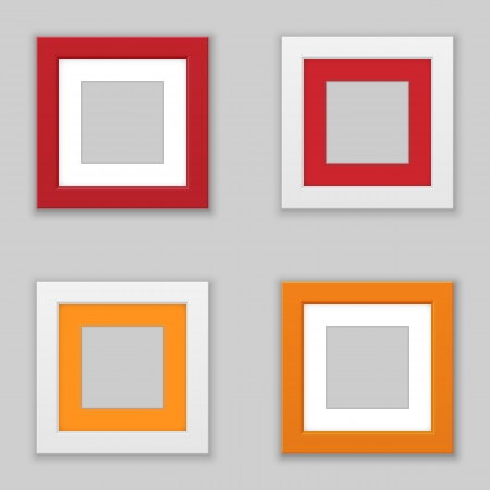 Realistic Square Picture Frame Set. Vector Vector