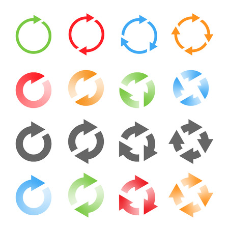arrowheads: Rotating Arrows Set. Refresh, Reload, Recycle Sign. Vector Illustration